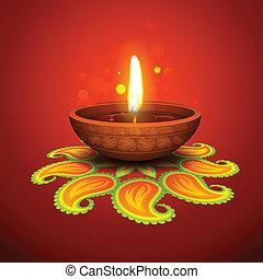 illustration of burning diya on Diwali Holiday background