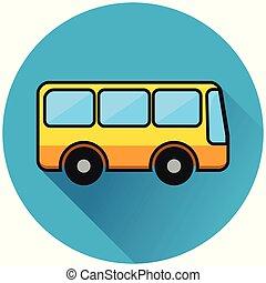bus circle blue flat icon