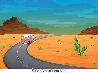 bus in a desert