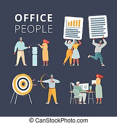 Illustration of Business characters scene. Teamwork in modern business office. Office people working at workspace. Work with files, cooler, aim and arrow on dark background.