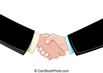 illustration of business deal with hands on white background