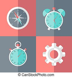Business flat icons set pink and blue
