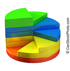 3d illustration of colorful round graph