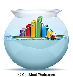 business graph crashing in water tank - illustration of...
