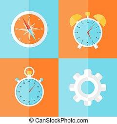 Business icons orange and blue set