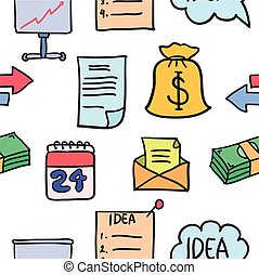 Illustration of business object doodles style