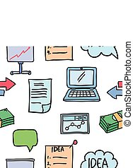 Illustration of business object various doodles