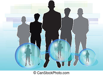 Illustration of business people connected