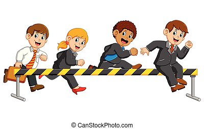 illustration of businessman and businesswoman are running and jumping on the obstacle