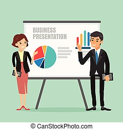 illustration of businessman and woman making a presentation in front of a board