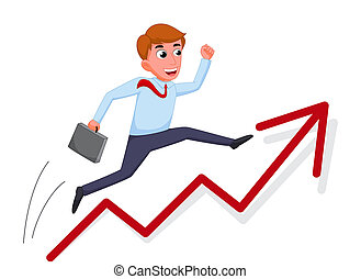 Businessman cartoon jump over growing chart