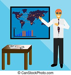 Illustration of businessman making a presentation