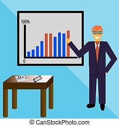 Illustration of businessman making a presentation
