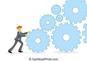 illustration of businessman pushing gears on white background