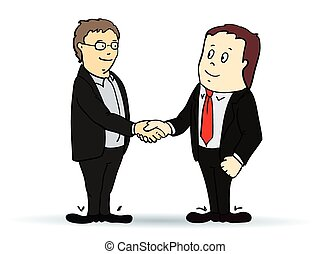 Illustration of businessman, shaking hands