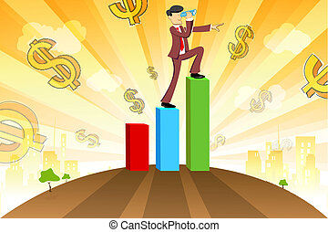 businessman with graph and dollar