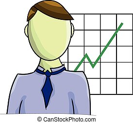Illustration of businessman with graph isolated on white background