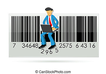 businessman with laptop in barcode