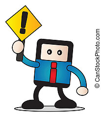 businessman with traffic sign