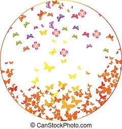 illustration of butterflies, flower