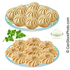 Illustration of buuza and khinkali on a plate with dill and ...