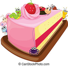 cake and various insects