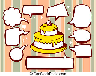 illustration of cake with speech comics bubbles on patter