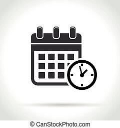 calendar with clock icon on white background