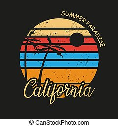 Illustration of california beach paradise for surf