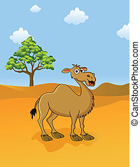 camel in the savanna - illustration of camel in the savanna