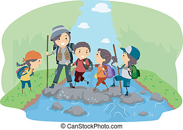 Campers Crossing a River - Illustration of Campers Crossing ...