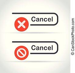 cancel icons on white background