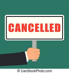 cancelled word sign flat concept - Illustration of cancelled...