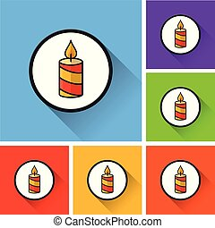 candle icons with long shadow