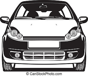 illustration of car - black and white Vector illustration of...