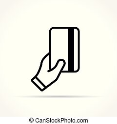 card in hand icon on white background