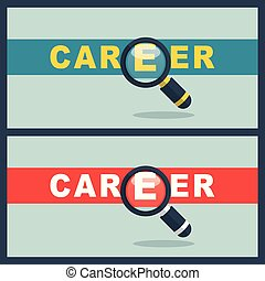 career word with magnifier concept