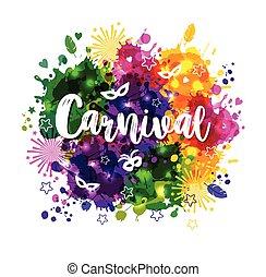 Illustration of Carnival Mardi Gras on multicolors ...