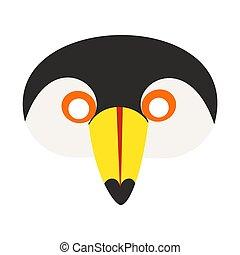 illustration of carnival mask cartoon flat style tropical toucan bird.