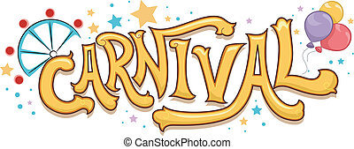 Illustration of Carnival Text with Stars and a Ferris Wheel