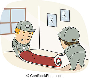 Carpet Installer - Illustration of Carpet Installers at Work