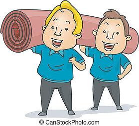 Carpet Installers - Illustration of Carpet Installers or...