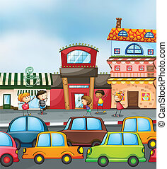 cars and kids - illustration of cars and kids on the road