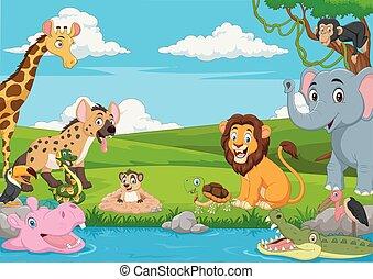Cartoon African landscape with wild animals