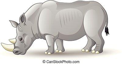 Cartoon African rhinoceros isolated on white background