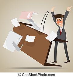 cartoon angry businessman flipping table - illustration of...