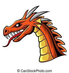 Cartoon angry dragon head mascot