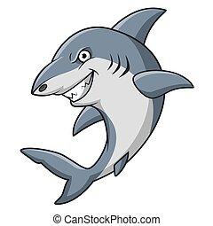 Cartoon angry shark mascot design