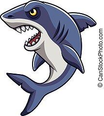 Cartoon angry shark mascot