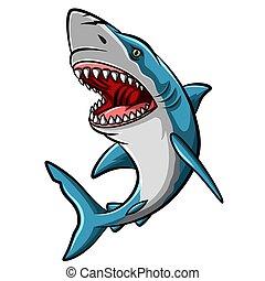 Cartoon angry shark mascot on white background